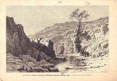 Le bord de la Creuse, près de Gargilesse, promenade habituelle de Georges Sand, estampe XIXe siècle, dessin de Grandsire, Bfm Limoges.