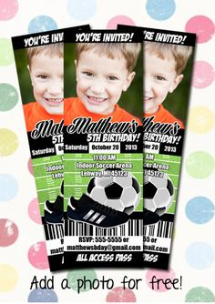 Soccer Birthday Party Invitation Ticket Style You by DigiPopCards, $12.99