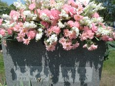 This is the headstone saddle of flowers I did for my beautiful Mom, NES 5/30/19-01/04/95 on Mother's Day 2012