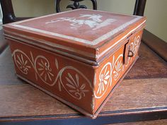 Antique french painted tin dresser jewelry box lady with peacocks