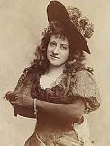 """Lottie Collin (1865-1910) was most famous for performing the song """"Ta-ra-ra Boom-de-ay"""" in Britain, with a  high-kicking Can-Can routine in Music Halls in 1892. She discovered the song on a Vaudeville show in America."""