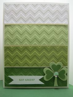 handmade card: Goin' Over The Edge: Mixing up a little green goodness with Pink Paper Bakery ... shades of green ... chevron embossing folder texture cut in four greens, cut indo bands and placed together in ombre pattern ... heart leafed shamrock ... Stampin' Up!