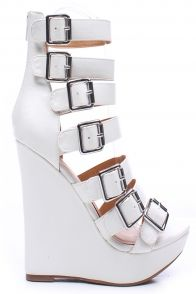 WHITE FAUX LEATHER STRAPPY PLATFORM WEDGE BOOTIE