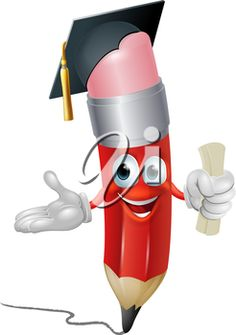 iCLIPART - Clipart illustration of a pencil character in mortar board hat holding scroll certificate or diploma for graduating