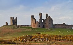 Dunstanburgh Castle, Northumberland, England, built in 1313 by Thomas Plantagenet, Second Earl of Lancaster. Thomas fell into disfavor with his cousin King Edward II who had him executed for treason in 1322. The executioner must have had a bad day because it took him 11 strokes to ultimately decapitate Thomas. The Earls' ghost has been spotted around the castle carrying his mangled head. The ghost of Margaret of Anjou, wife of King Henry VI, has also been spotted wandering the castle grounds. mediev castl