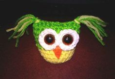 Miniature Crochet Owl  Yellow and Green by Tfamilyinspirations, $10.00
