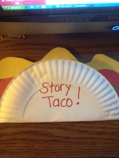 TACO Story: 1 paper plate and construction paper for the meat/beans, lettuce, tomatoes, cheese. Students write TOPIC on the meat/beans, CHARACTERS on the lettuce, SETTING on the tomato, and PLOT on the cheese. This could also be used for sequencing and mexican/hispanic folktale or story.
