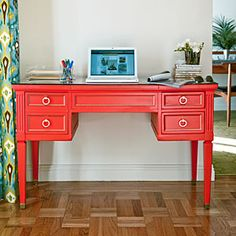 With a few style tricks, give an old, scuffed, and tarnished desk a colorful reboot.