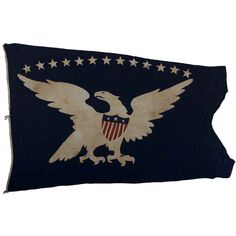 13-Star Eagle American Ship Swallow-Tailed Pennant Flag.  USA  Circa 1840