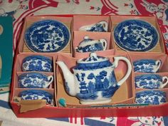 Vintage child's Blue Willow tea set. Made Japan, with original box.