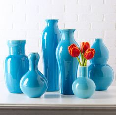 Vases, Beautiful Set of Aqua Blue Porcelain Flower Vases, one of over 3,000 limited production interior design inspirations inc, furniture, lighting, mirrors, home accents, accessories, decor and gift ideas to enjoy repin and share at InStyle Decor Beverly Hills Hollywood Luxury Home Decor enjoy & happy pinning