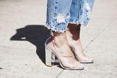 the transparent plastic shoes