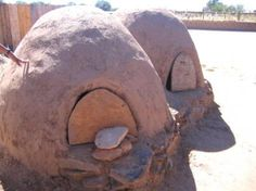 Horno is a mud adobe-built outdoor oven used by Native Americans Taos Pueblo, New Mexico