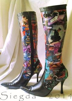 Justice League Decoupaged Comic Book High Heeled Knee High Boots -SIZE 8 Siegda 2014 Collection $125.00