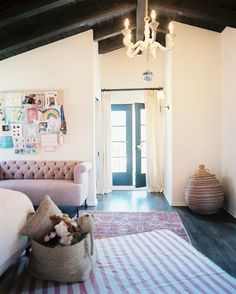Rustic Traditional Kids Room~Lonny Mag {White Rustic-Pink Bohemian-Rustic, Traditional Lighting}
