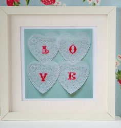 << Use Martha Stewarts lace-heart-punch & make a Valentine card adding the letters >>