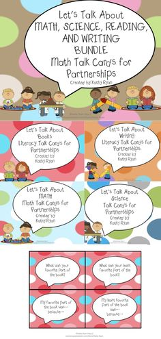 Improve your partner time with Let's Talk Cards.    This BUNDLE pack includes over 160 conversation starters for partnerships. There are talking prompts for Math, Science, Reading, and Writing.    Using these cards will help your students develop their speaking and listening skills while discussing their work and thinking.    The cards can also be used as prompts for math, science, and reading response journals.    This bundle is offered at a price 20% less than buying each set individually.