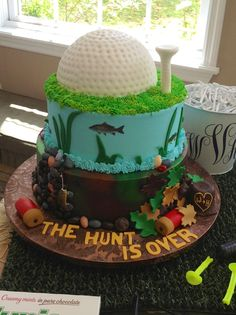 Grooms cake at Karlan Mansion I made. Hunting, fishing and golf...all the grooms favorite things!