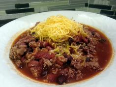 """Crockpot Chili - """"pretty good. i used turkey meat instead and added a few things...blk beans always for chili ;-)"""" @allthecooks #recipe"""