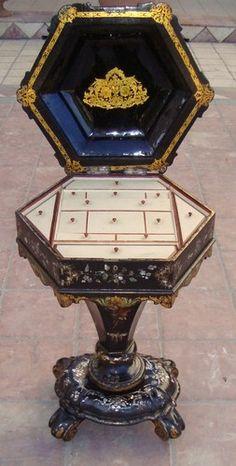 SEWING BOX PAPIER MACHE VICTORIAN ENGLISH circa 1870 VERY ORIGINAL | eBay