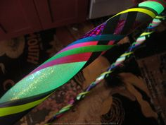 GLITTER & GLOW Hula Hoop - Glow in the dark tape sparkles during the day with an Iridescent sheen - Blacklight reflective neon tape on Etsy, $38.95