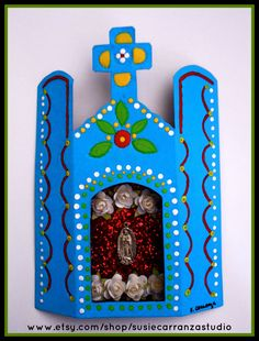Handpainted Tin Nicho - Church Nicho with Virgen de Guadalupe Milagro. Mexican folk art. Susie Carranza Studio on Etsy.