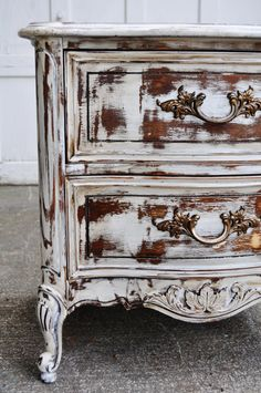 Chalk painted distressed furniture shabby  cottage chic side table hand painted antique white finished with a dark walnut stain tea stain