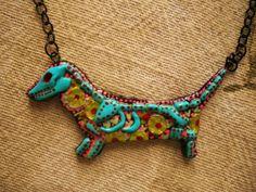 DAISY The Undead Weenie Dog Clay Necklace by MiBodegaJewelry, $26.00