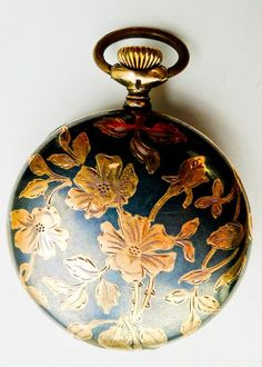 Antique Art Nouveau Niello Enamel Sterling Silver & 18kt Gold Pocket Watch - Circa 1900
