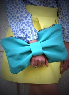 Teal Leather Bow Clutch