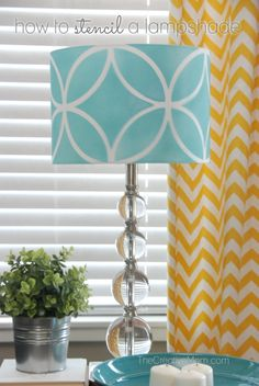 How to Stencil - DIY Lamp Shade Project using the Endless Circles Lattice Moroccan Stencil from Royal Deisgn Studio - Found here: http://www.royaldesignstudio.com/products/endless-circles-lattice-moroccan-stencil
