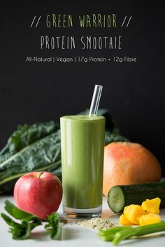 The Green Warrior Protein Smoothie! 17g protein and 12g fibre! Loaded with iron, calcium, vitamin C and more. #vegan
