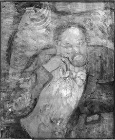 """Infrared of Pablo Picasso's """"The Blue Room"""" (1901), showing the portrait of the unknown man underneath (The Phillips Collection, © 2008)"""