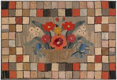 19th century hooked rug.