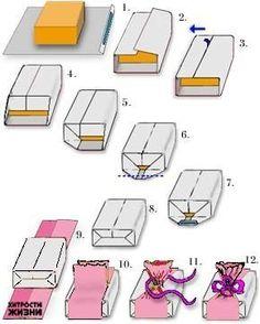 Как запаковать коробку бумагой на подарок 744