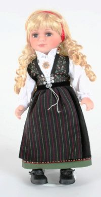 Sogn, Norwegian Dolls 12 inches  A place with a lot of history, Sogn was a petty kingdom called Sygnafylki. Kings of Sogn include Harald Gullskjegg (Goldbeard), Halfdan the Black and Harald Fairhair.  Sogn   USD 100.00