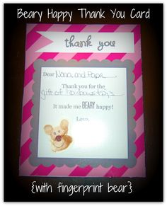 Detail-Oriented Diva! Beary Happy Thank You Card Printable with fingerprint bear.