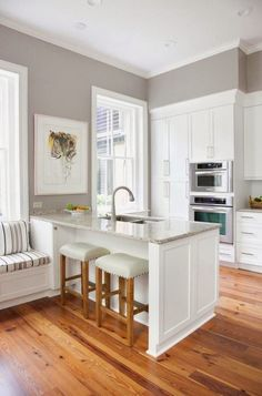 wall colors, idea, floor, small kitchens, stool, kitchen design, white cabinets, gray wall, white kitchens