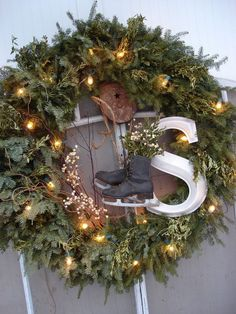 large wreath with ice skates