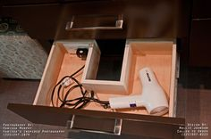 Bathroom Outlet In Drawer For Blow Drier Design, Pictures, Remodel, Decor and Ideas