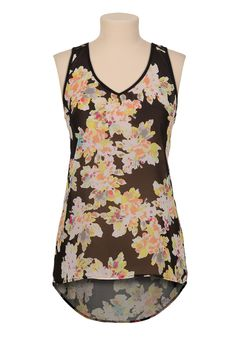 Floral print lace back high-low tank - maurices.com