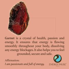 Garnet is a crystal of health, passion and energy. It ensure that energy is flowing smoothly throughout your body, to help you feel more grounded, secure and safe. #garnet #crystals #healing