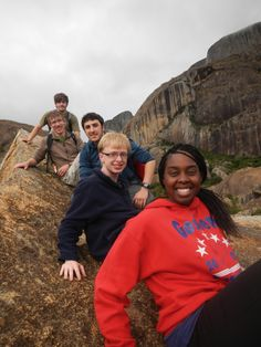 Cal U students have fun at Anja Special Reserve. Madagascar. This is a community-create park that was established to protect several groups of ring-tailed lemurs and the cultural history of the people in the region. student, park