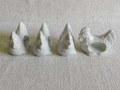 Set of 4 White Ceramic Rooster Napkin Rings. $13.00, via Etsy.