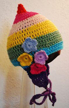 Crochet Pixie Hat, #rainbow style