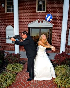 Fun wedding picture! I LOVE THIS!! <3 @Erika Paterson Tyer balls, idea, futur, weddings, sport, wedding photos, fishing poles, wedding pictures, gun