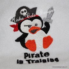 Pirate In Training Penguin Embroidered Bib by by mishacoledesigns, $10.00