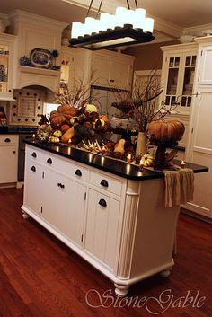 kitchen island decorated for fall