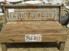 bench made from old tailgate