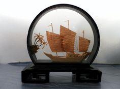 Vintage Asian Carved Cork Art Ship Black Lacquer by zenmonkeyshop, $40.00